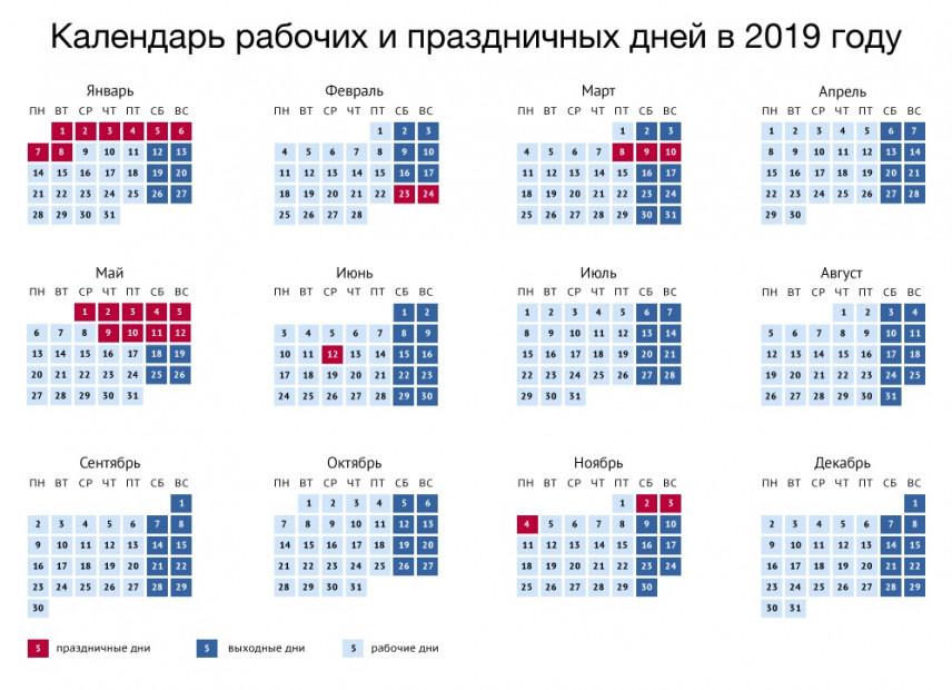 Правительство России утвердило перенос выходных в 2019 году